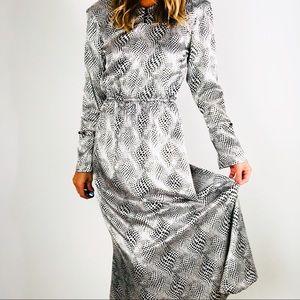 [vintage] Satin Black & White Polka Dot Midi Dress